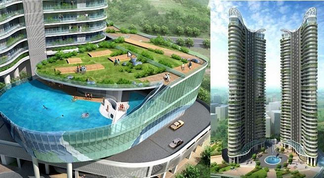 Las piscinas del aquaria grande tower for Hotel con piso de vidrio sobre el mar